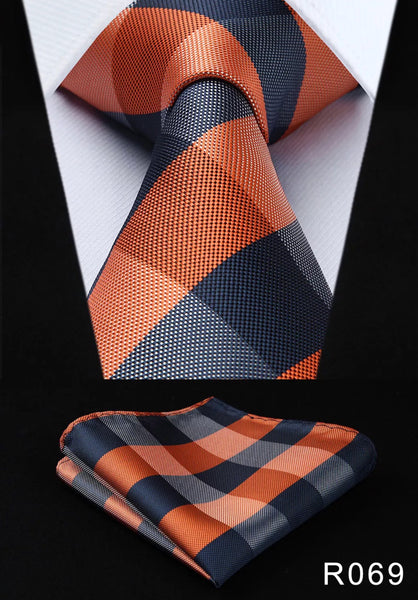 Men's Silk Coordinated Tie Set - Orange Blue Checkered