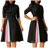 Women's Elegant Half Sleeve Pleated Flare Dress, Sizes Small - 2XLarge