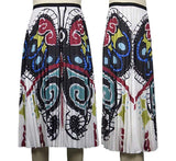 Pleated Butterfly Print Skirt, Sizes Small - 3XLarge