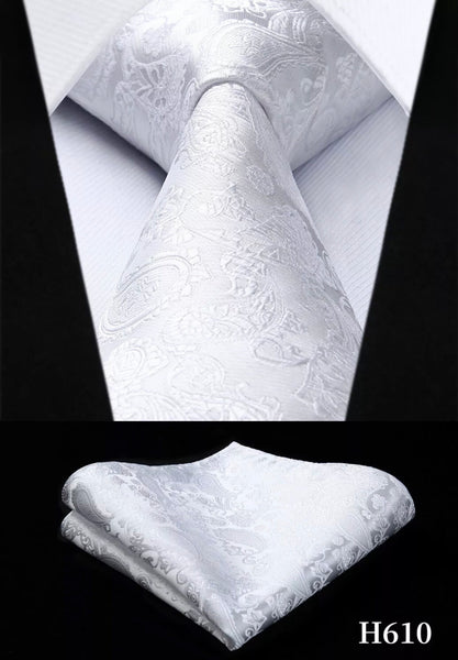 Men's Silk Coordinated Tie Set - Solid White Paisley