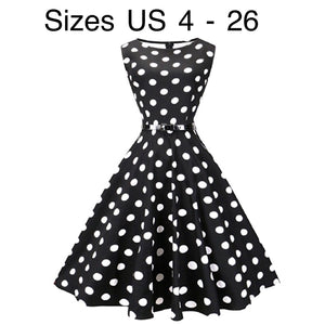 Tea Length Cocktail Dress, Black with Large White Polka Dots, US Sizes 4 - 26