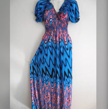 Chevron Striped Boho Maxi Dress -  Blue & Pink, Small -XXLarge