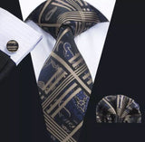 Men's Silk Coordinated Tie Set - Blue, Beige, Black Paisley Stripe