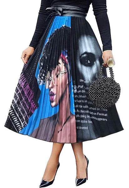 Pleated Print Skirt, Sizes Small - 3XLarge (Black)