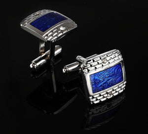 Luxury White Rhinestone Blue Square Cuff Links