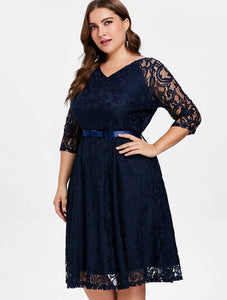 V-Neck Lace Midi Dress, US Sizes 14 - 22