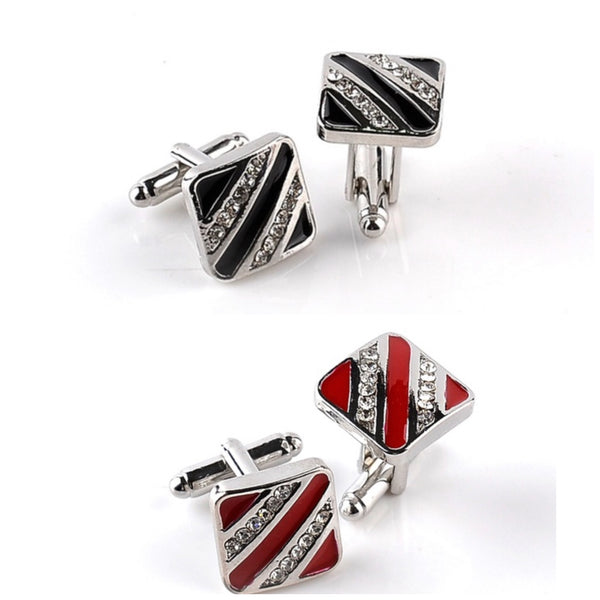 Creative European Rhinestone Square Cufflinks