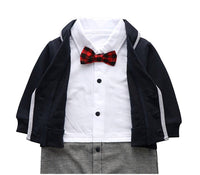 Baby Boys Romper Tuxedo Suit with Bow Tie, US Sizes 3 - 24 Months