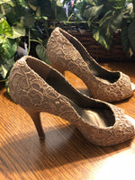 Gold Embroidered Heels from Paris, US Size 8