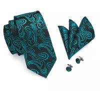 Men's Silk Coordinated Tie Set - Turquoise Black a Paisley