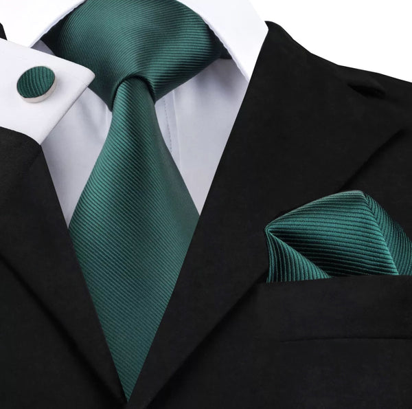 Men's Silk Coordinated Tie Set - Solid Deep Green