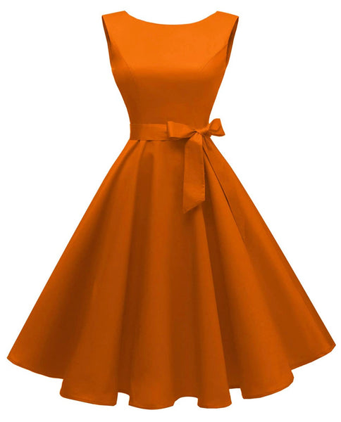 Boatneck Sleeveless Retro Inspired Dress, Sizes XSmall - 3XLarge (US Size 0 - 18W) Orange