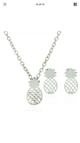 Pineapple Style Ear Stud and Necklace Jewelry Set - Gold or Silver