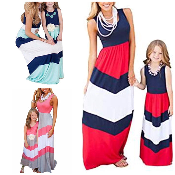 Mommy & Me Striped Maxi Dress, Child Sizes 2T - 7, Mommy US Sizes 8 - 14