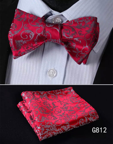 Men's Silk Bow Tie Set - Gray Red Paisley