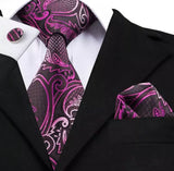 Men's Silk Coordinated Tie Set - Purple Floral