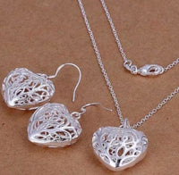 Hollow Heart Silver Necklace & Earrings Jewelry Set