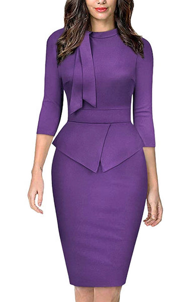 Vintage Inspired Peplum Dress (Sizes Small - 2XLarge) Purple