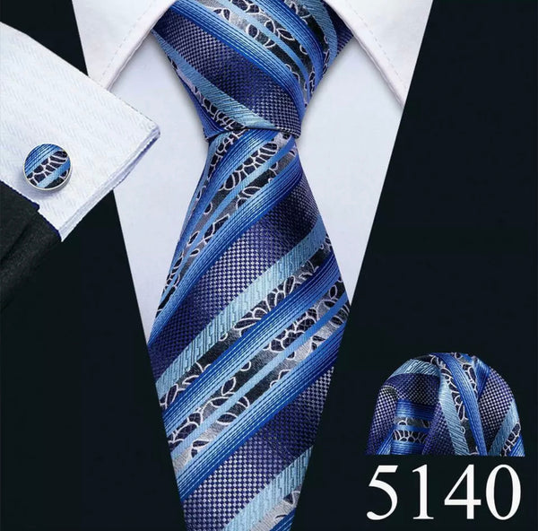 Men's Coordinated Silk Tie Set - Blue Striped