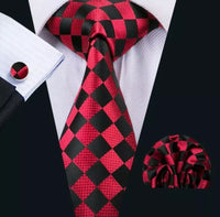 Men's Silk Coordinated Tie Set - Red and Black Squared