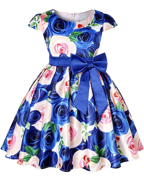 Little Girl's Blue Floral Bow-Tie Party Dress, Sizes 2T - 14 years