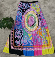 Pleated Floral Print Skirt, Sizes Small - 3XLarge