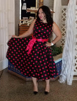 Audrey Hepburn Inspired Swing Dress , US Sizes 0 -18W, Black & Rose Red Dots