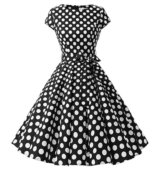 Rockability Cap-Sleeve Dress, Black with White Polka Dots, Sizes XS - 3XL