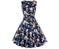 Vintage Inspired Cocktail Dress - Dark Blue Floral, Sizes Small - 2XLarge