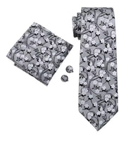 Men's Silk Coordinated Tie Set - Silver Floral
