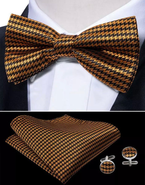 Men's Pre-Tied Silk Bow Tie Set - Black and Gold Check