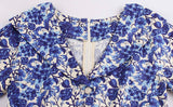 Vintage Inspired Blue Beige Floral Dress, Sizes Small - 3XLarge
