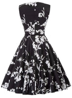 Vintage Inspired Dress with Belt, Sizes XSmall - 22W (Black & White Floral)