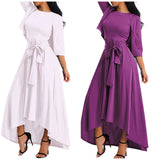 Halter Top Maxi Asymmetrical Hem Dress with Cardigan Top, Sizes Small - 3XLarge