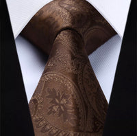 Men's Silk Coordinated Tie Set - Solid Paisley Brown