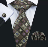 Men's Silk Coordinated Tie Set - Brown Gold Squared
