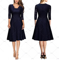 Lovely Lace Sleeved Retro Inspired Dress, US Sizes XS - 3XL (US Size 2 - 16)