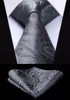 Men's Silk Coordinated Tie Set - Solid Paisley Gray