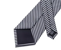 Men's Silk Coordinated Tie Set - Black Silver Stripe