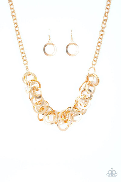 Ringing In The Bling - Gold, Necklace & Earring Set