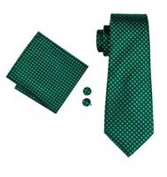 Men's Silk Coordinated Tie Set - Classic Plaid Green