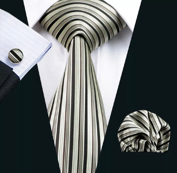 Men's Silk Coordinated Tie Set - Brown Beige Vertical Stripes