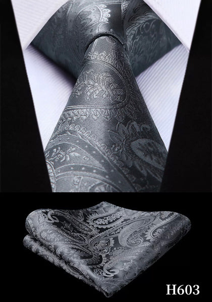 Men's Silk Coordinated Tie Set - Solid Gray Paisley