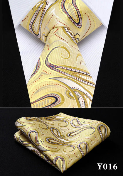 Men's Silk Coordinated Tie Set - Yellow Swirl