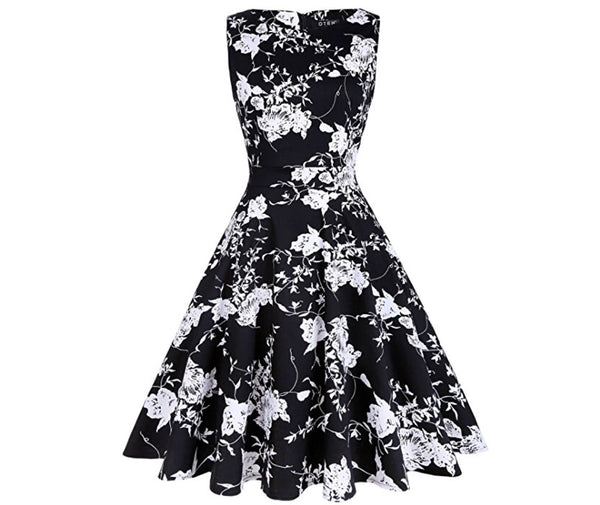 Vintage Inspired Cocktail Dress, Floral Black