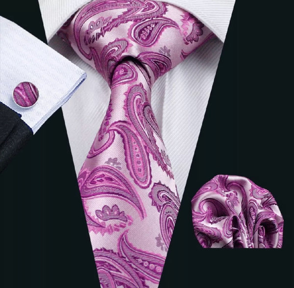 Men's Silk Coordinated Tie Set - Pink Purple Paisley