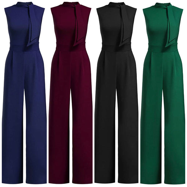 Women's Retro Half Collar Bow Casual Jumpsuits, Sizes Small - XLarge (US Sizes 4 - 18)