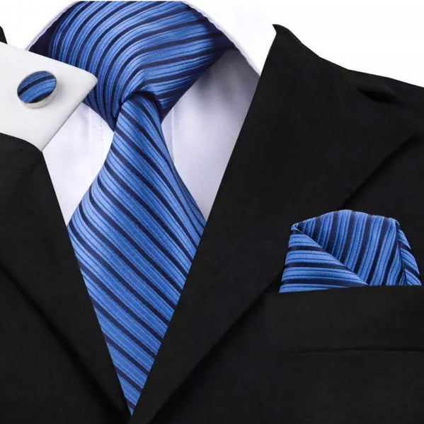 Men's Coordinated Silk Tie Set - Blue Black Stripe