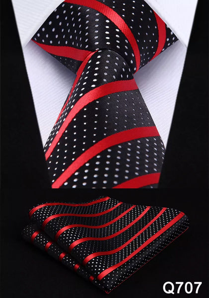 Coordinated Tie Set / Black with White Polka Dot and Red Stripes