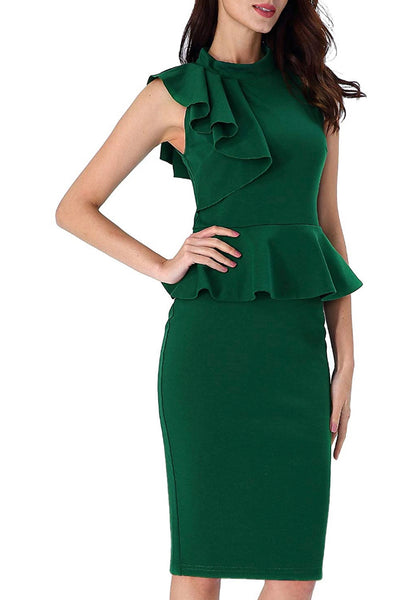 Ruffle Neck Peplum Dress, Sizes XSmall - 3XLarge (Green)